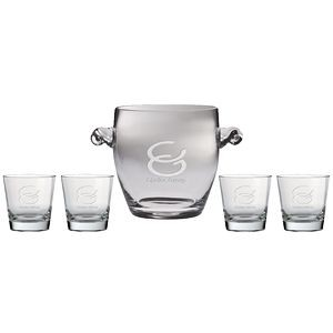 "Westgate Newlands Ice Bucket 9""H with Four Matching (12.25 oz.) Sinfonia Tumblers (5 Piece Set)"