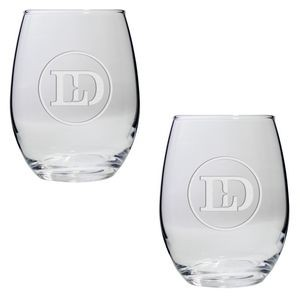 Set of Two Stemless Wine Glasses (21 Oz.)