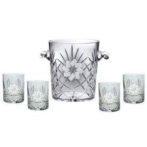 "Westgate Status Ice Bucket 8""H with Four Matching (11.5 oz.) Rocks Glasses"